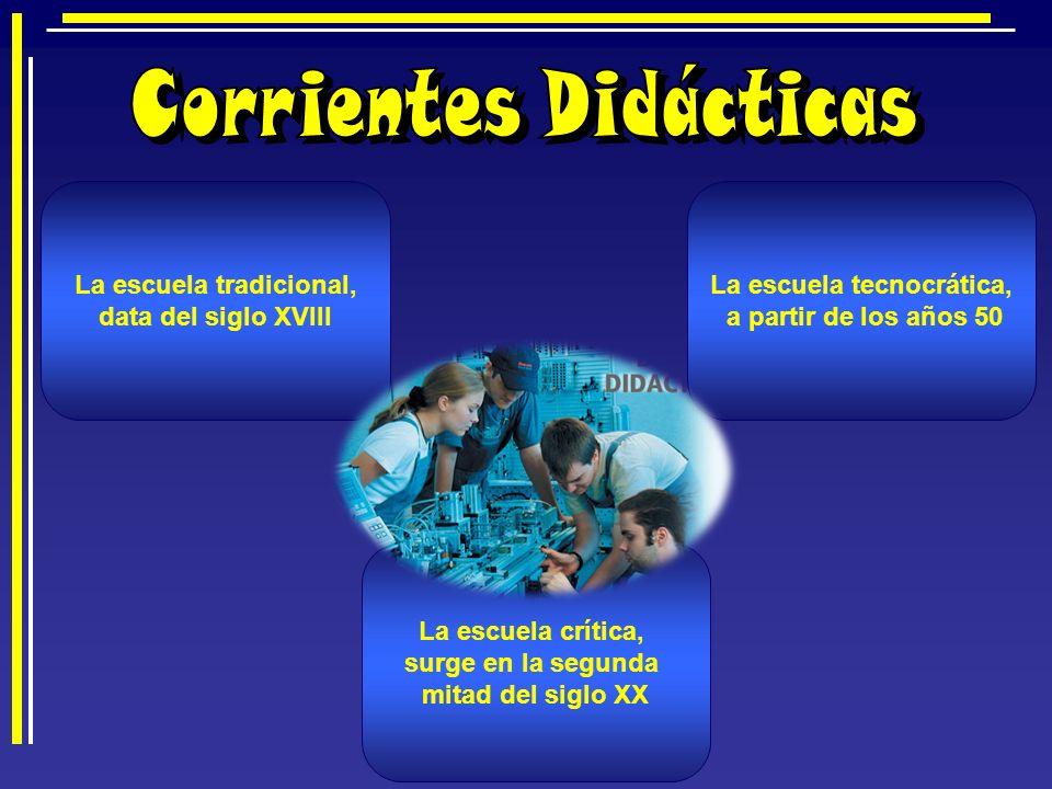Corrientes Didácticas La escuela tradicional, La escuela tecnocrática,