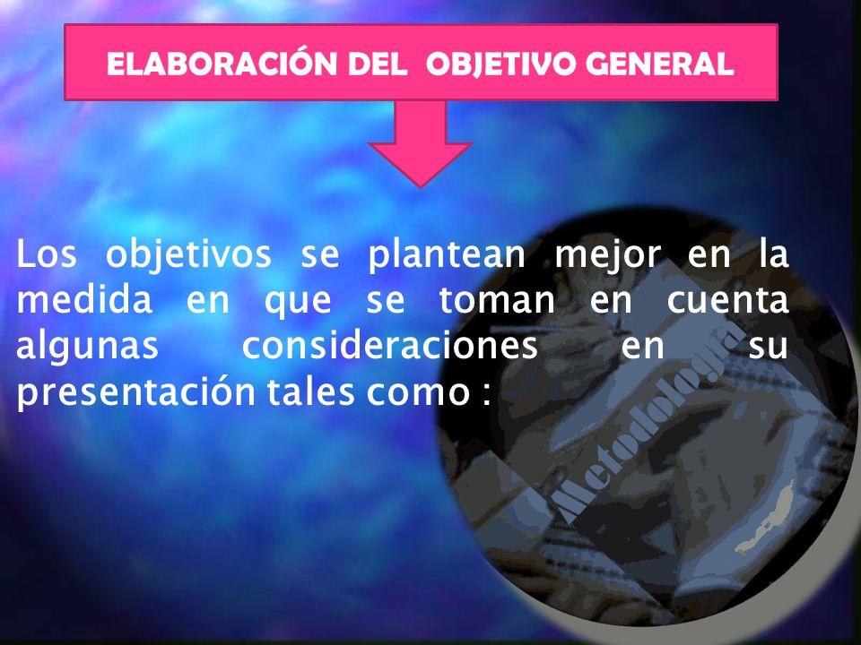 ELABORACIÓN DEL OBJETIVO GENERAL