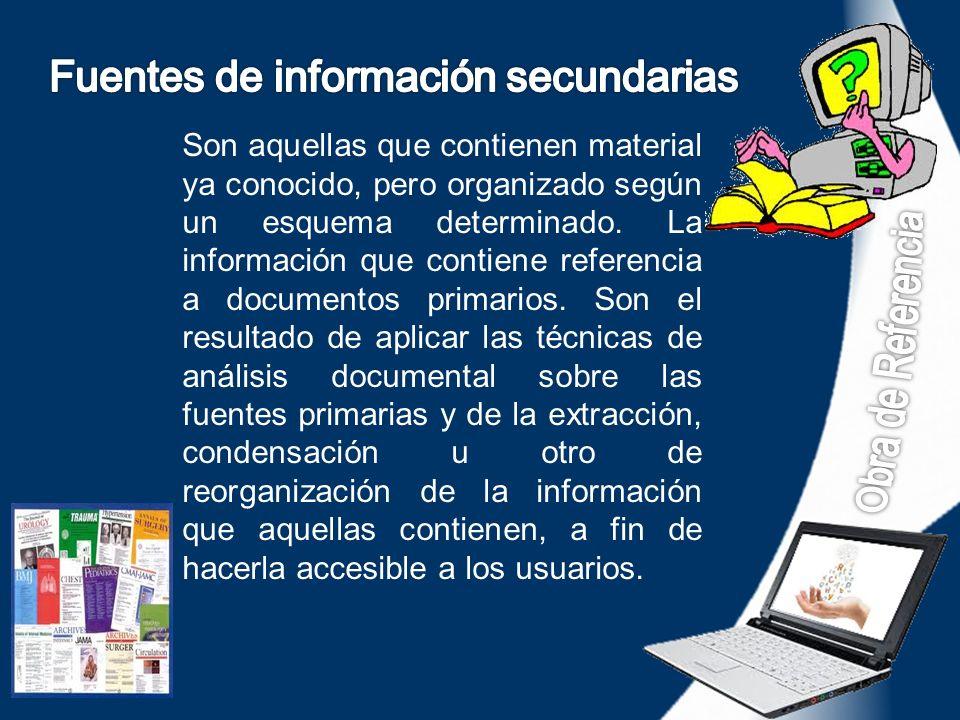 Fuentes de información secundarias