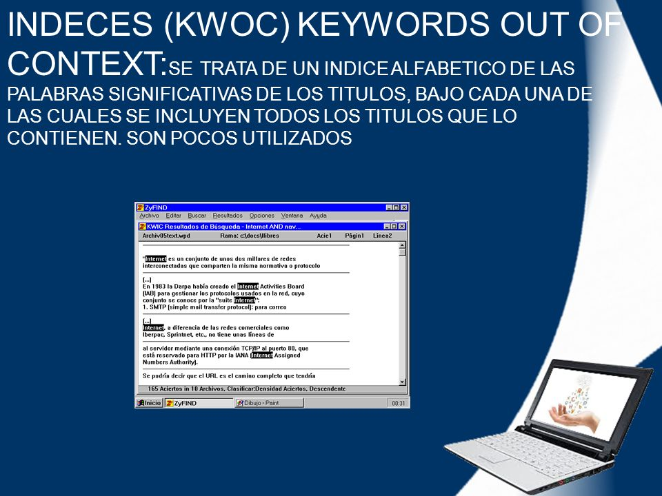 INDECES (KWOC) KEYWORDS OUT OF