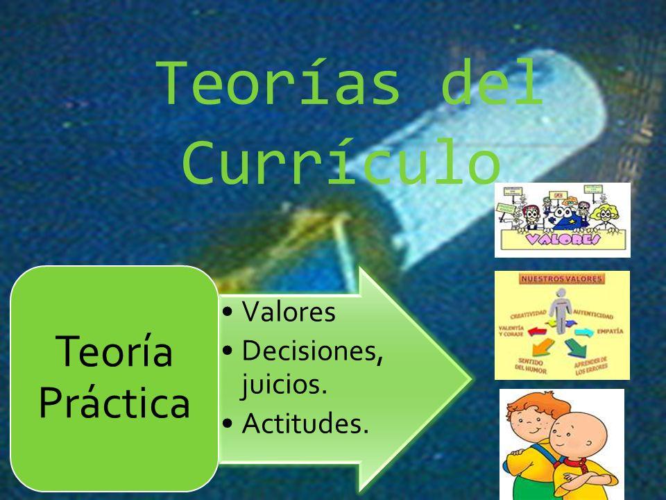Teorías del Currículo. Teoría Práctica Valores Decisiones, juicios.
