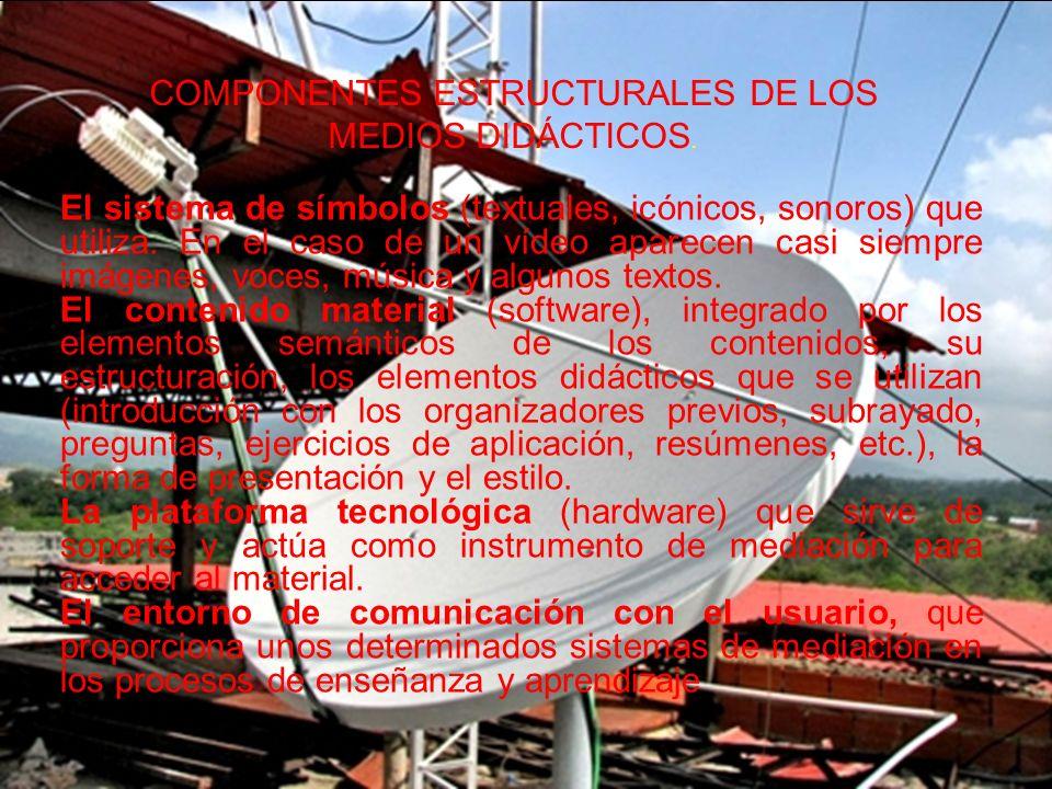 COMPONENTES ESTRUCTURALES DE LOS MEDIOS DIDÁCTICOS.