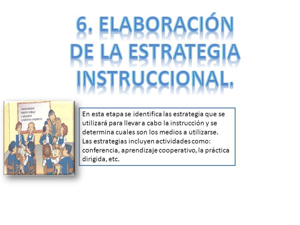 6. Elaboración De la estrategia Instruccional.