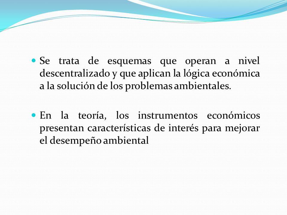 Se trata de esquemas que operan a nivel descentralizado y que aplican la lógica económica a la solución de los problemas ambientales.