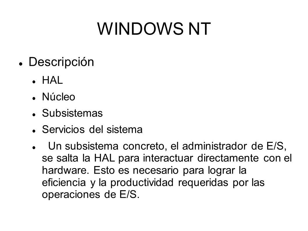 WINDOWS NT Descripción HAL Núcleo Subsistemas Servicios del sistema