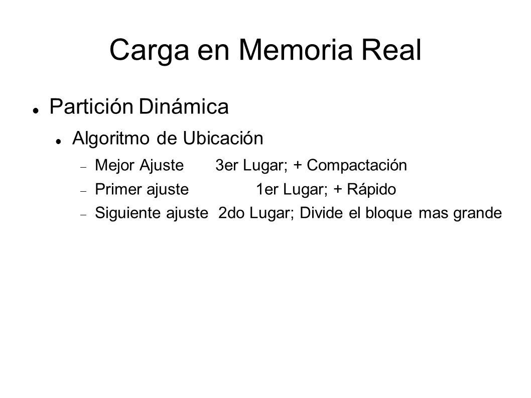 Carga en Memoria Real Partición Dinámica Algoritmo de Ubicación