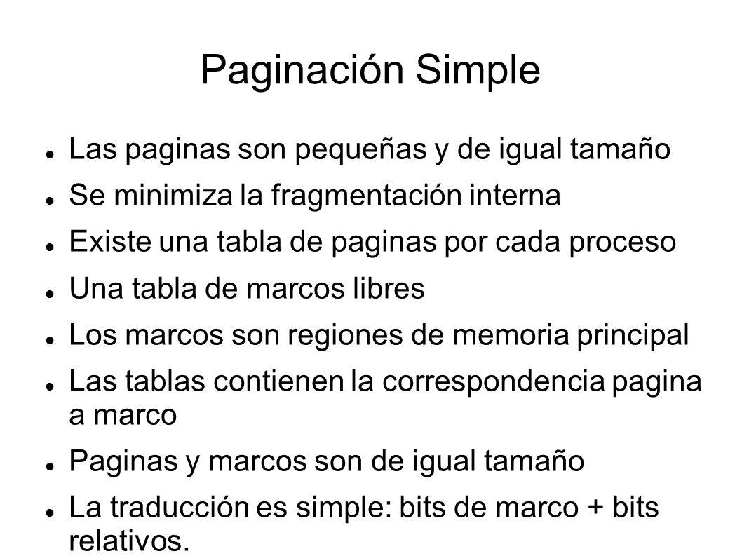 Paginación Simple Las paginas son pequeñas y de igual tamaño