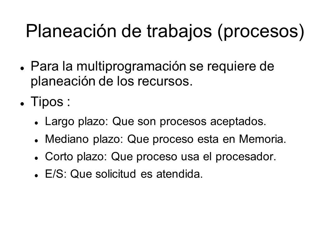 Planeación de trabajos (procesos)