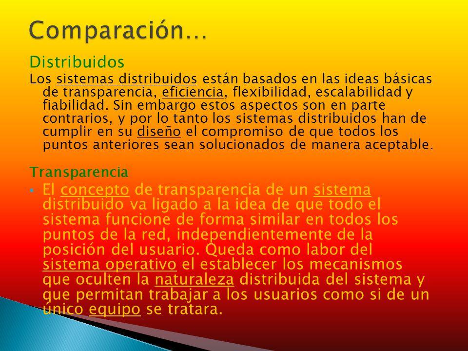 Comparación… Distribuidos