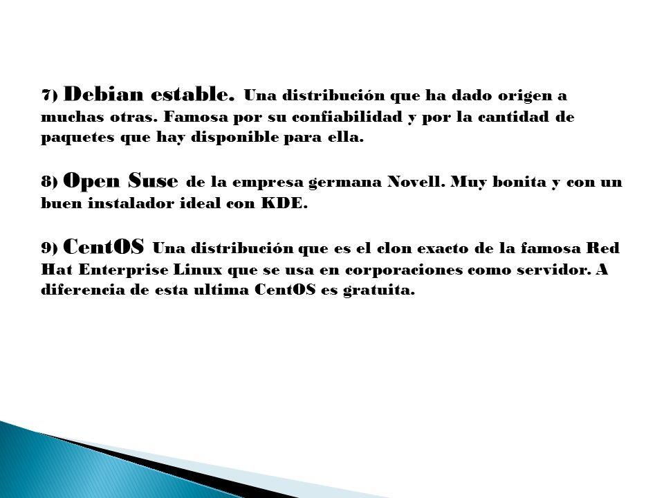 7) Debian estable. Una distribución que ha dado origen a muchas otras