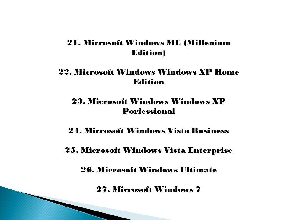 21. Microsoft Windows ME (Millenium Edition)