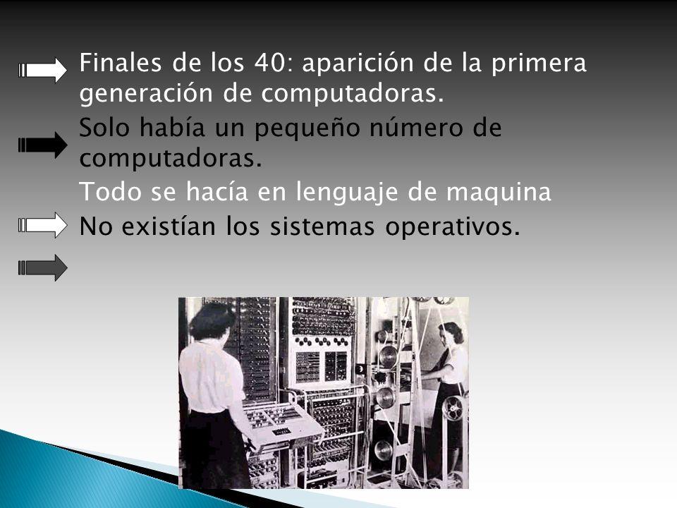 Finales de los 40: aparición de la primera generación de computadoras