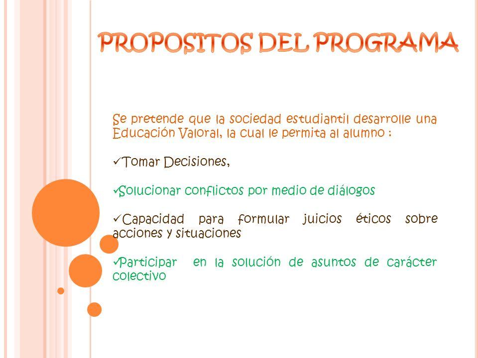 PROPOSITOS DEL PROGRAMA
