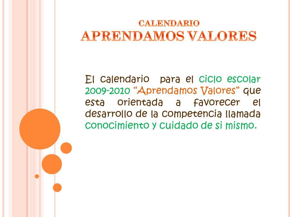 CALENDARIO APRENDAMOS VALORES.