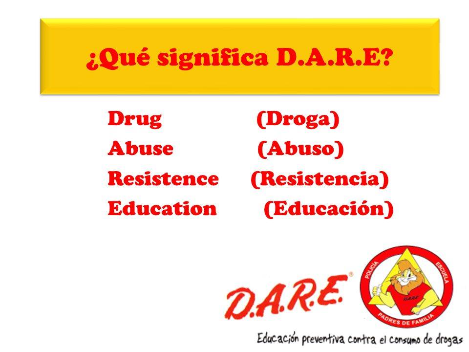 ¿Qué significa D.A.R.E Drug (Droga) Abuse (Abuso)