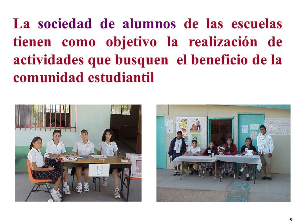 La sociedad de alumnos de las escuelas tienen como objetivo la realización de actividades que busquen el beneficio de la comunidad estudiantil