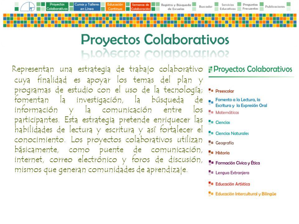 Representan una estrategia de trabajo colaborativo cuya finalidad es apoyar los temas del plan y programas de estudio con el uso de la tecnología; fomentan la investigación, la búsqueda de información y la comunicación entre los participantes.