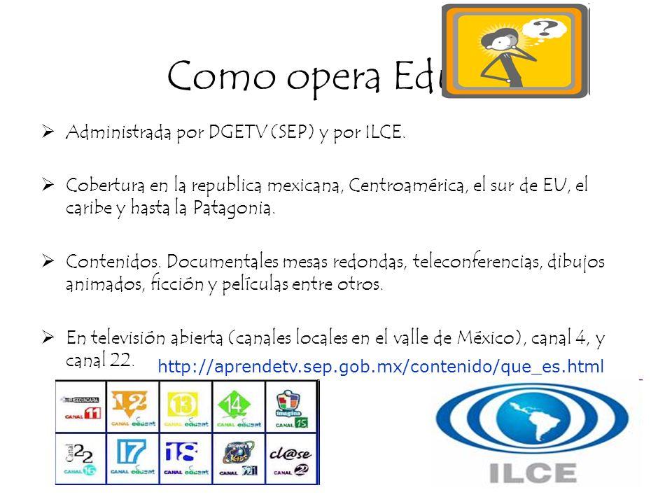 Como opera Edusat Administrada por DGETV (SEP) y por ILCE.