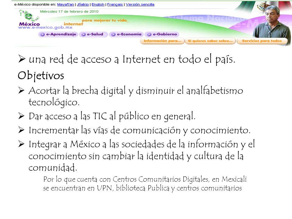 E- México una red de acceso a Internet en todo el país. Objetivos