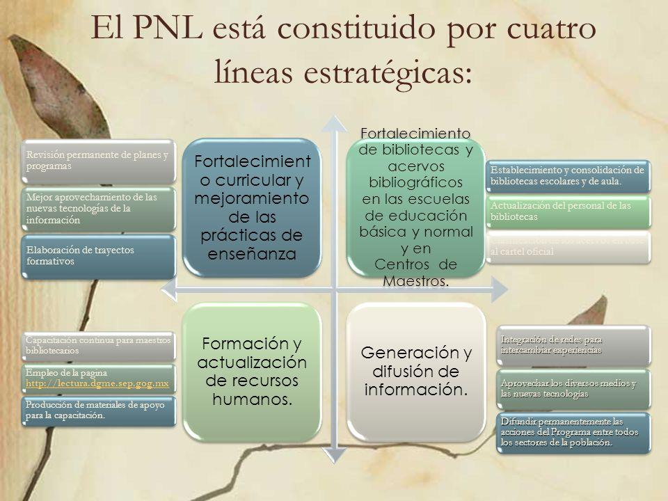 El PNL está constituido por cuatro líneas estratégicas: