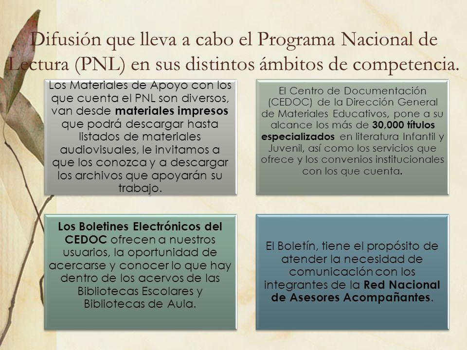 Difusión que lleva a cabo el Programa Nacional de Lectura (PNL) en sus distintos ámbitos de competencia.