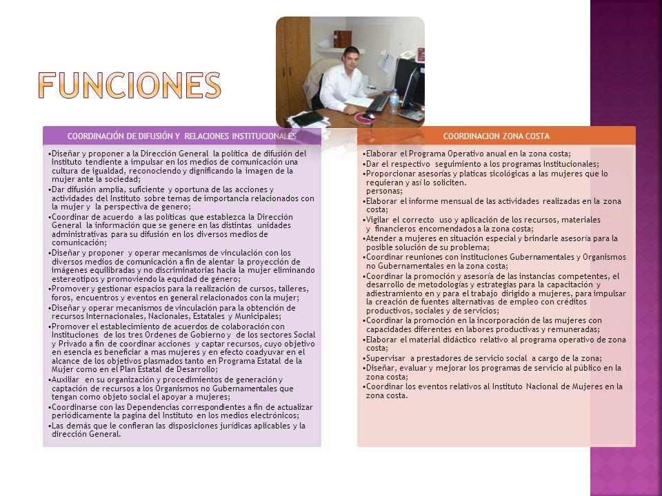 FUNCIONES COORDINACIÓN DE DIFUSIÓN Y RELACIONES INSTITUCIONALES