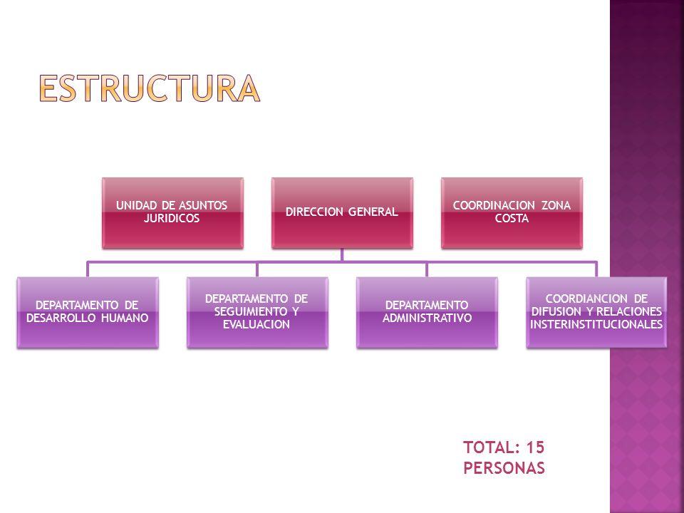 ESTRUCTURA TOTAL: 15 PERSONAS UNIDAD DE ASUNTOS JURIDICOS