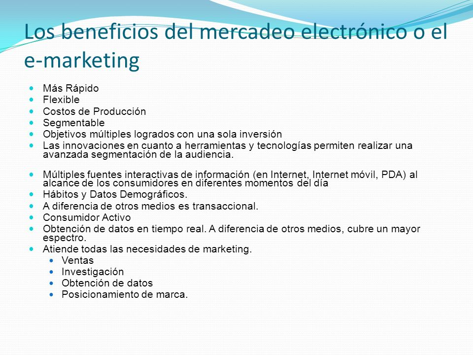 Los beneficios del mercadeo electrónico o el e-marketing