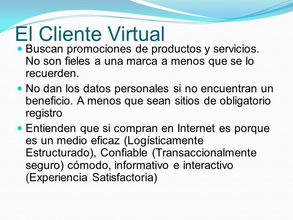 El Cliente Virtual Buscan promociones de productos y servicios. No son fieles a una marca a menos que se lo recuerden.