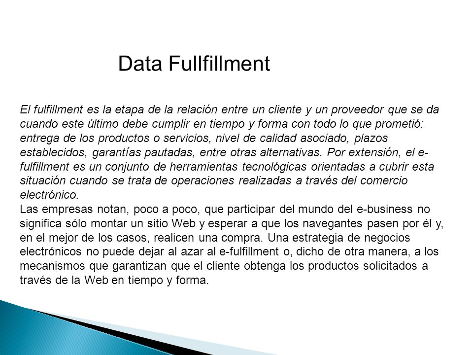 Data Fullfillment