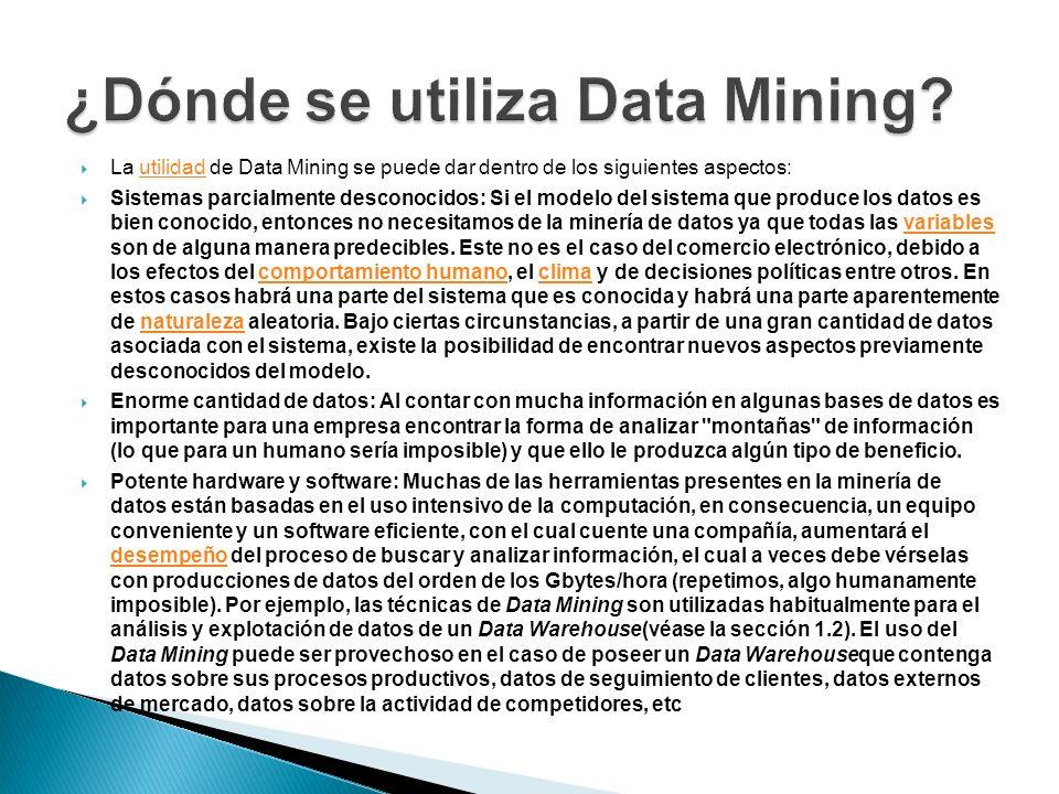 ¿Dónde se utiliza Data Mining
