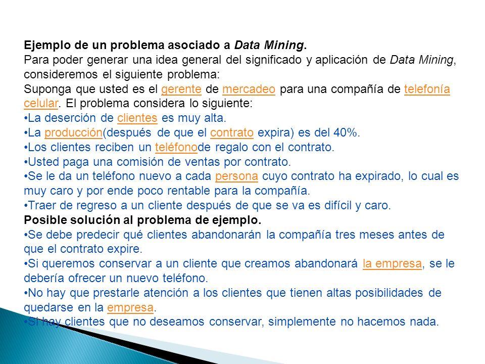Ejemplo de un problema asociado a Data Mining.
