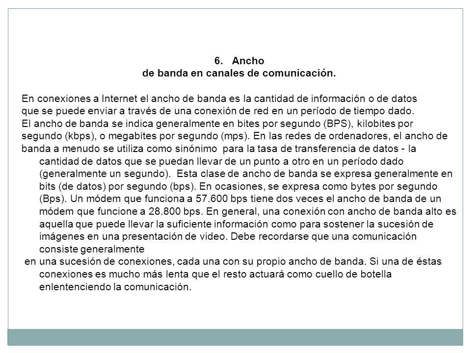 de banda en canales de comunicación.