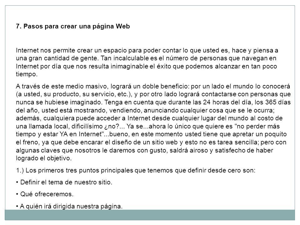 7. Pasos para crear una página Web
