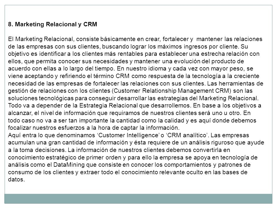8. Marketing Relacional y CRM