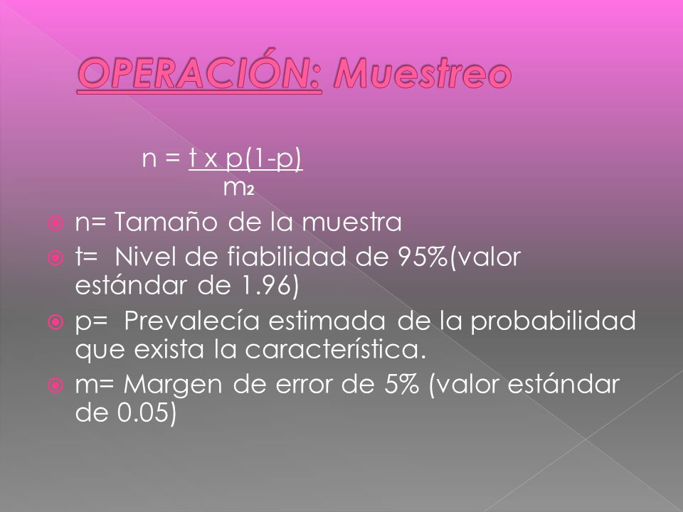OPERACIÓN: Muestreo n = t x p(1-p) m2 n= Tamaño de la muestra