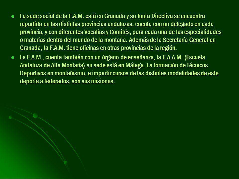 La sede social de la F.A.M. está en Granada y su Junta Directiva se encuentra repartida en las distintas provincias andaluzas, cuenta con un delegado en cada provincia, y con diferentes Vocalías y Comités, para cada una de las especialidades o materias dentro del mundo de la montaña. Además de la Secretaría General en Granada, la F.A.M. tiene oficinas en otras provincias de la región.