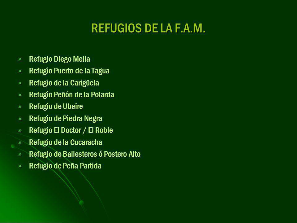 REFUGIOS DE LA F.A.M. Refugio Diego Mella Refugio Puerto de la Tagua