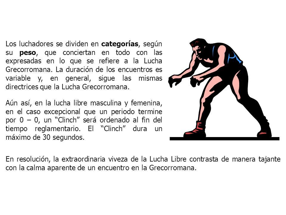 Los luchadores se dividen en categorías, según su peso, que conciertan en todo con las expresadas en lo que se refiere a la Lucha Grecorromana. La duración de los encuentros es variable y, en general, sigue las mismas directrices que la Lucha Grecorromana.