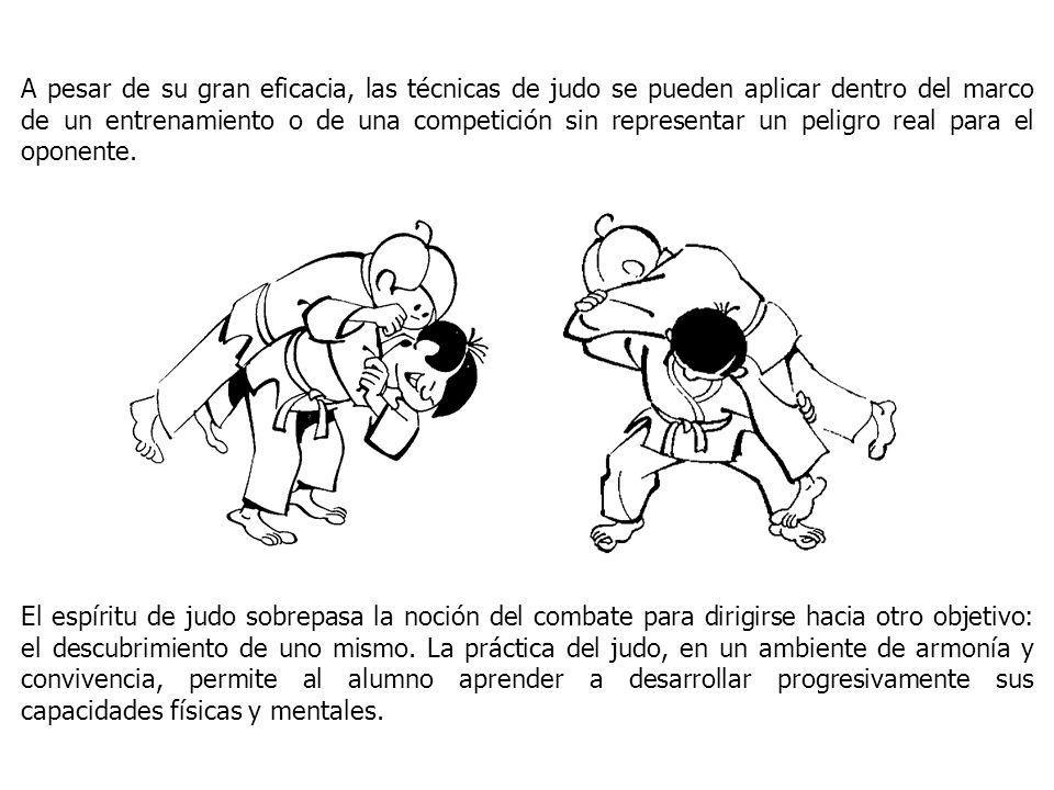 A pesar de su gran eficacia, las técnicas de judo se pueden aplicar dentro del marco de un entrenamiento o de una competición sin representar un peligro real para el oponente.