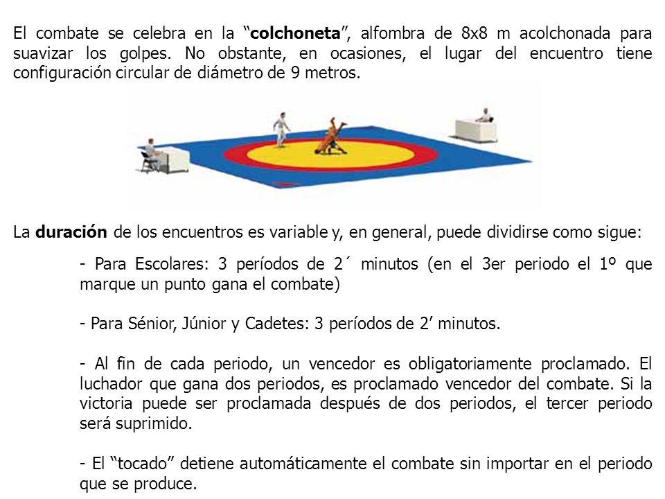 El combate se celebra en la colchoneta , alfombra de 8x8 m acolchonada para suavizar los golpes. No obstante, en ocasiones, el lugar del encuentro tiene configuración circular de diámetro de 9 metros.