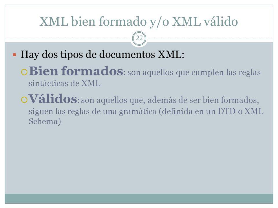 XML bien formado y/o XML válido