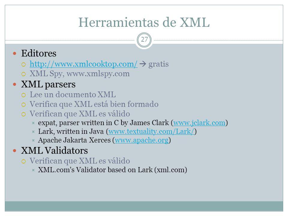 Herramientas de XML Editores XML parsers XML Validators