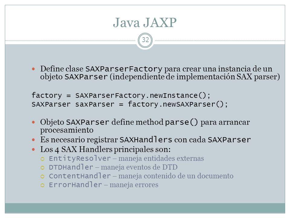 Java JAXPDefine clase SAXParserFactory para crear una instancia de un objeto SAXParser (independiente de implementación SAX parser)