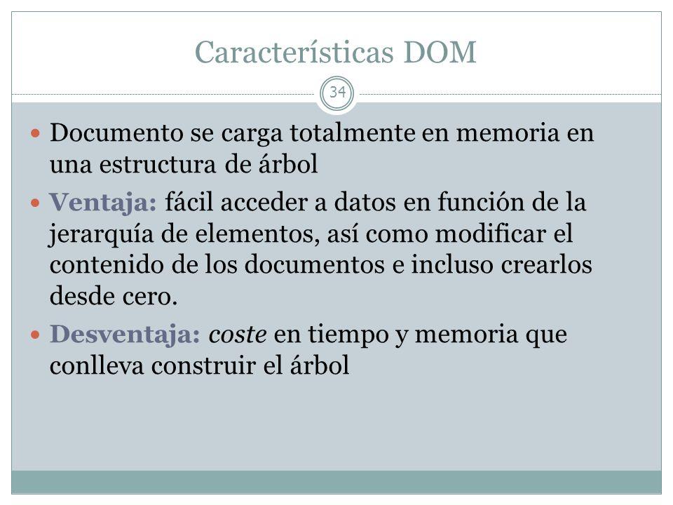 Características DOMDocumento se carga totalmente en memoria en una estructura de árbol.