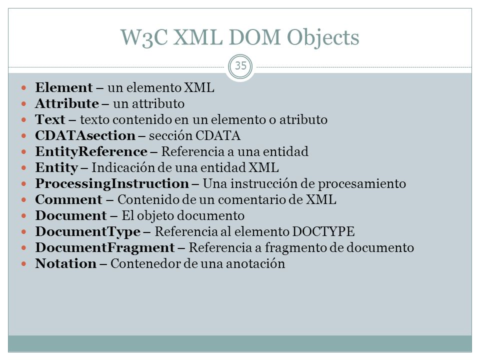 W3C XML DOM Objects Element – un elemento XML Attribute – un attributo