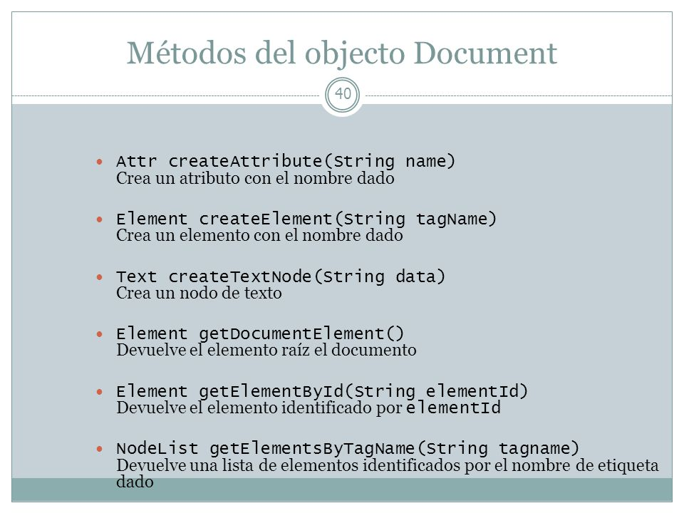 Métodos del objecto Document