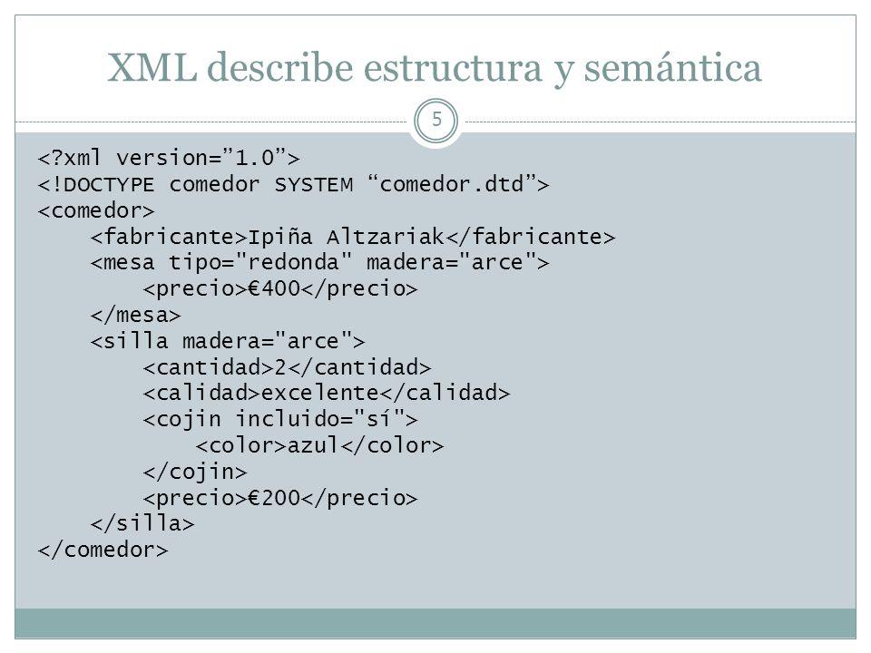 XML describe estructura y semántica