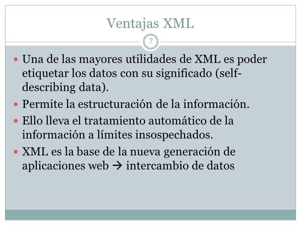 Ventajas XML Una de las mayores utilidades de XML es poder etiquetar los datos con su significado (self-describing data).