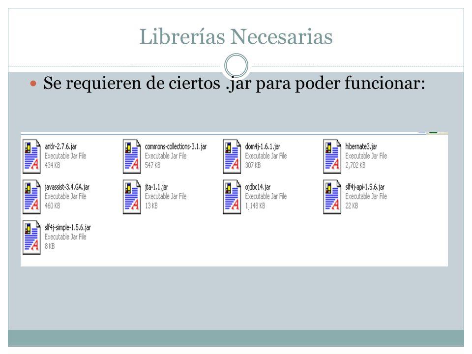 Librerías Necesarias Se requieren de ciertos .jar para poder funcionar: